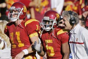 Matt Leinart, Reggie Bush and Pete Carroll