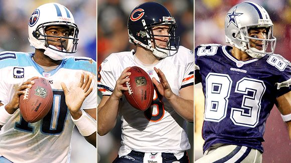 The Titans' failure to add significant receiving help could prove costly to Vince Young. Chicago looks especially weak at QB with Rex Grossman (center) coming back, and Dallas could be thin at receiver if Terry Glenn doesn't play much.