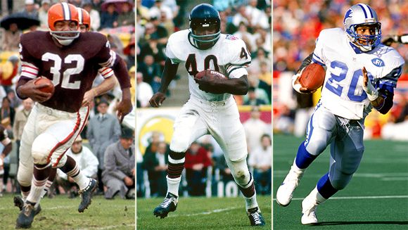 Jim Brown, Gale Sayers, Barry Sanders