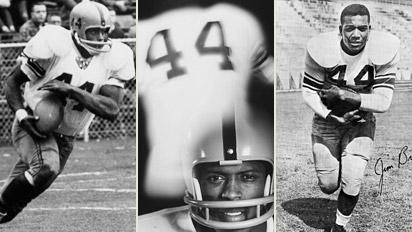 Ernie Davis, Floyd Little, and Jim Brown