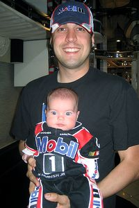 Sam Hornish Jr. and his baby Addison