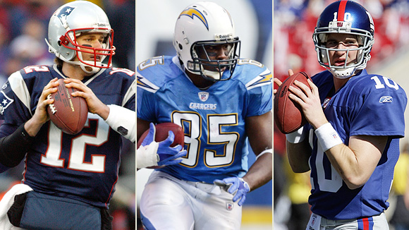 Tom Brady, Antonio Gates and Eli Manning