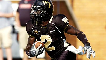 WINSTON-SALEM, NC - SEPTEMBER 22: Alphonso Smith #2 of the Wake Forest Demon Deacons runs the ball against the Maryland Terrapins at BB&T Field on September 22, 2007 in Winston-Salem, North Carolina. Wake Forest defeated Maryland 31-24 in overtime.