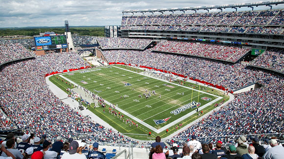 Image of Gillette Stadium, home of the New England Patriots.
