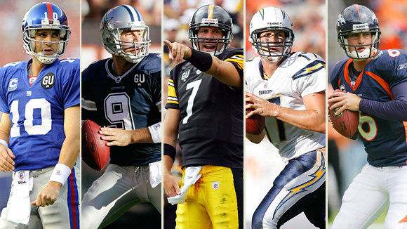 Eli Manning, Tony Romo, Ben Roethlisberger, Phillip Rivers, and Jay Cutler