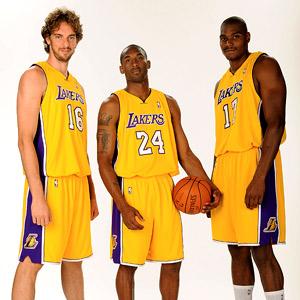 Pau Gasol, Kobe Bryant, and Andrew Bynum