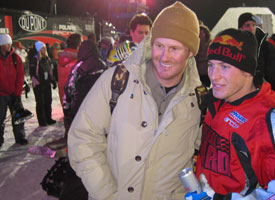 Jim Rippey, the first rider to sick a snowmobile backflip, and Levi LaVallee following tonight's Next Trick contest.