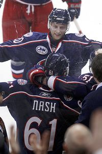Rick Nash and Kristian Huselius