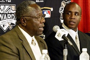 Barry Bonds and Hank Aaron