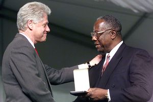 President Clinton and Hank Aaron