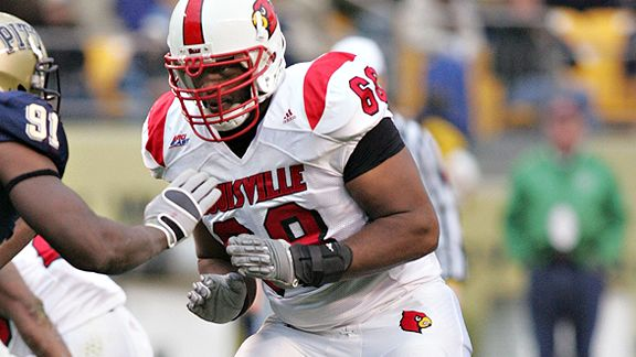 PITTSBURGH - NOVEMBER 08: George Bussey #68 of the Louisville Cardinals plays his position in pass protection against the Pittsburgh Panthers on November 8, 2008 at Heinz Field in Pittsburgh, Pennsylvania. Pittsburgh defeated Louisville 41-7.
