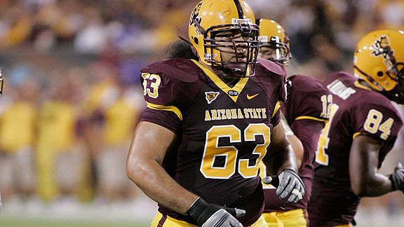 TEMPE, AZ - SEPTEMBER 13: Paul Fanaika #63 of the Arizona State Sun Devils looks on against the UNLV Rebels on September 13, 2008 at Sun Devil Stadium in Tempe, Arizona.