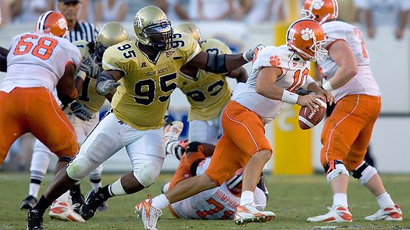 ATLANTA, GA - SEPTEMBER 29: Cullen Harper #10 of the Clemson Tigers is sacked in second half by Darryl Richard #95 of the Georgia Tech Yellow Jackets at Bobby Dodd Stadium on September 29, 2007 in Atlanta, Georgia. Georgia Tech defeated Clemson 13-3.