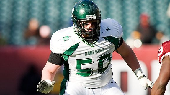 22 November 2008: Eastern Michigan left tackle T.J. Lang (#50) during the Temple-Eastern Michigan game at Lincoln Financial Field, Philadelphia, PA.