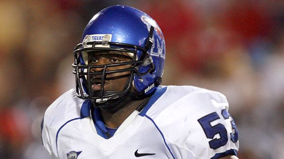 OXFORD, MS - AUGUST 30: Clinton McDonald #53 of the Memphis Tigers during a game against the Mississippi Rebels on August 30, 2008 at Vaught-Hemingway Stadium/Hollingsworth Field in Oxford, Mississippi. Mississippi defeated Memphis 41-24. (Photo by Joe Murphy/Getty Images)