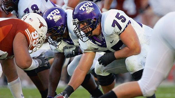 16 October 2008: TCU center Blake Schlueter (75) during the game between the Brigham Young Cougars and the TCU Horned Frogs. TCU won the game defeating BYU 32-7 ending the Cougars 16 game winning streak at TCU's Amon Carter Stadium, Ft. Worth, Texas