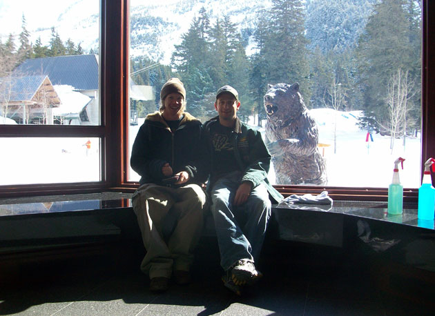 Dutton, left, and friend Garrett Altman relax after a vigorous window-cleaning session at the Hotel Alyeska.