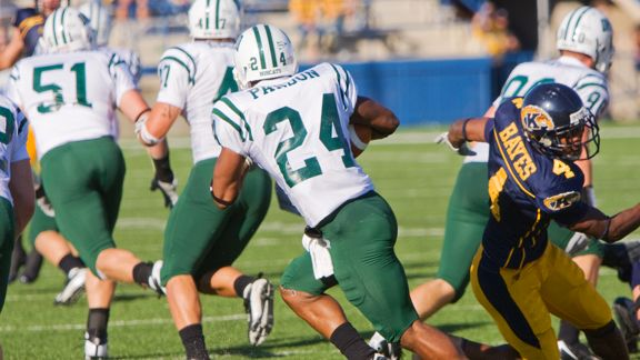 11 October 2008: Ohio Bobcats Mark Parson (24) runs with the football during the NCAA college football game between the Ohio Bobcats and the Kent State Golden Flashes at Dix Stadium in Kent, Ohio. The Bobcats beat the Golden Flashes 26-19.