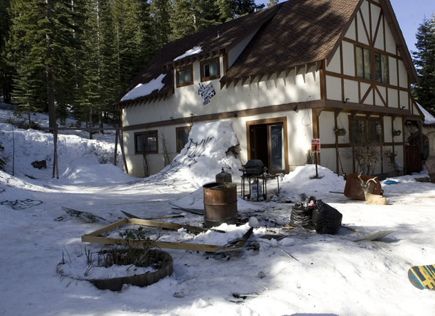 The former Rome flophouse in Lake Tahoe. They were renovating the house, so the landlord said we could pretty much do whatever we wanted, says Rome Marketing Manager Ryan Runke. The landlord would later eat his words.