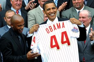 President Obama and Jimmy Rollins