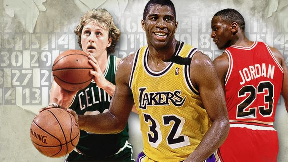 Larry Bird, Magic Johnson, Michael Jordan