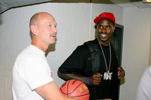 Charlie McCormick greets Atlanta Hawks forward Marvin Williams