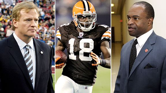 Commissioner Roger Goodell, Browns WR Donte' Stallworth, NFLPA executive DeMaurice Smith (l-r)