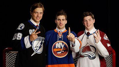 Victor Hedman, John Tavares, and Matt Duchene