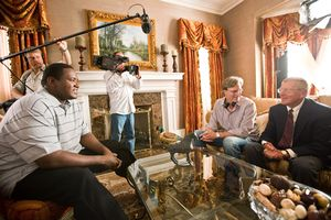 Lou Holtz during filming. Courtesy of Alcon Entertainment.