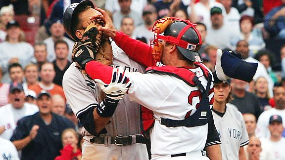 Alex Rodriguez and Jason Varitek (with mask on)