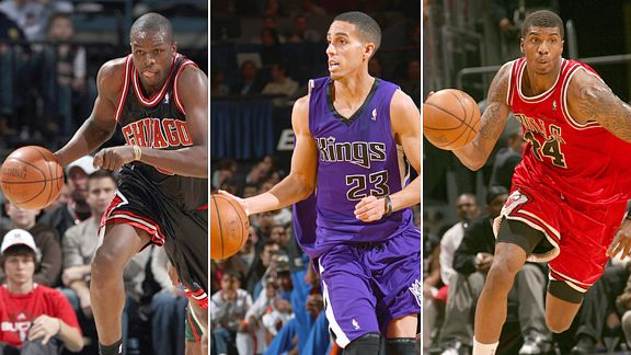 Luol Deng, Kevin Martin and Tryus Thomas