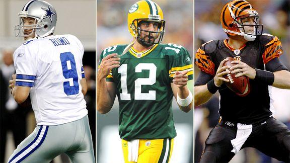 Tony Romo, Aaron Rodgers, Carson Palmer