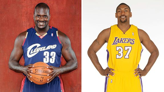 Shaquille O'Neal and Ron Artest