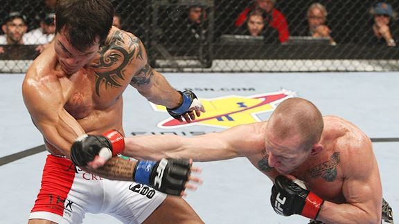 Roger Huerta and Gray Maynard Josh Hedges/Zuffa/UFC Roger Huerta, left,