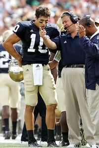 Charlie Weis and Brady Quinn