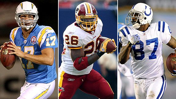 Philip Rivers, Clinton Portis and Reggie Wayne