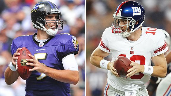Joe Flacco and Eli Manning
