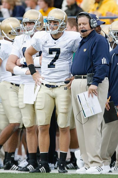 Charlie Weis and Jimmy Clausen