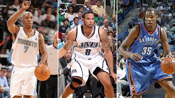 Chauncey Billups, Deron Williams, and Kevin Durant