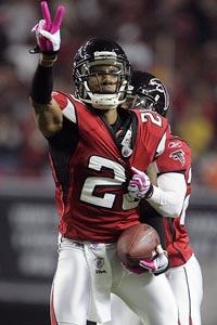 NFL: Atlanta Falcons FS Thomas DeCoud (2 INTs) and kick returner Eric