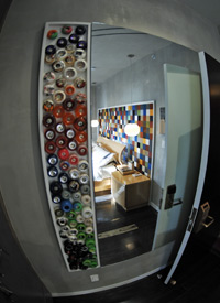The wall of wheels mirror represents the different kinds of skating through different kinds of wheels.