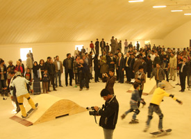 The skate hall opening was packed with onlookers as the children had a chance to skate the new ramps for the first time.