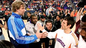 Steve Nash #13 of the Phoenix Suns shakes hands with Dirk Nowitzki #41 of the Dallas Mavericks