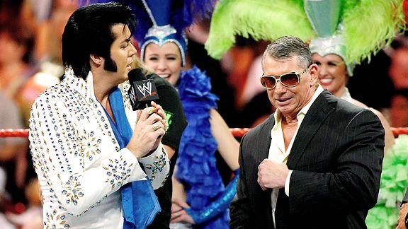 Elvis Presley impersonator sings to Vince McMahon