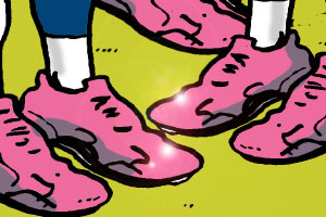 Five pink cleats
