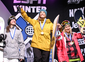 Bright celebrates SuperPipe gold at WX '09 with Kelly Clark (silver) and Hannah Teter (bronze).