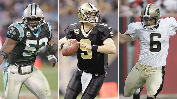 Jon Beason, Drew Brees and Thomas Morstead