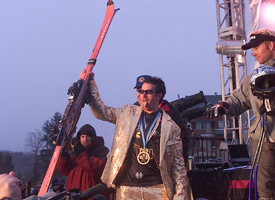 Palmer wearing his Sunday best to claim Skier X gold at Winter X4 in 2000.