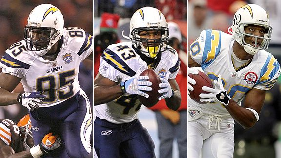 Antonio Gates,  Darren Sproles, and Malcom Floyd