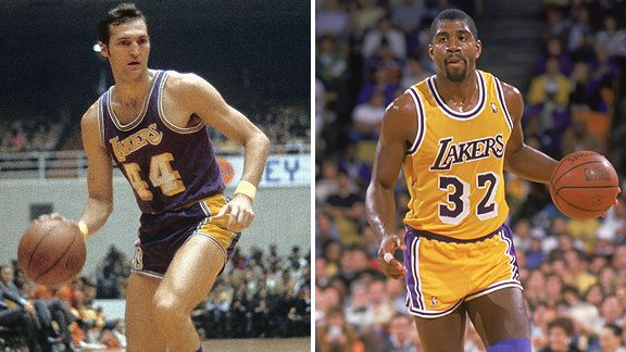 Jerry West and Magic Johnson